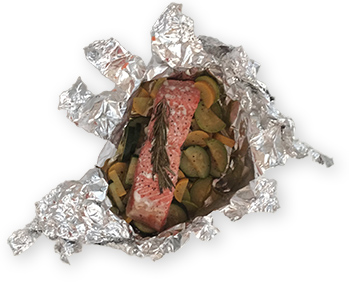 foil packets of salmon and veggies