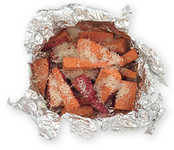 foil packets of sweet potatoes